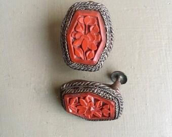 Old Chinese Silver Cinnabar Earrings Stylized Carved Leaves & Flower Dimensional Design Dark Patina Wonderful Love Token