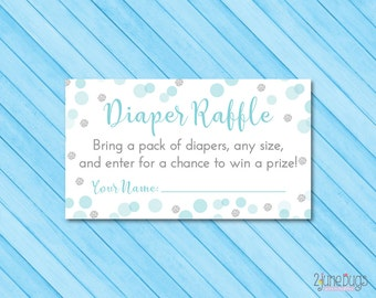 Blue and Silver Baby Shower Diaper Raffle Ticket - Diaper Raffle Cards - Blue Silver Glitter Dots - PRiNTABLE INSTANT DOWNlOAD