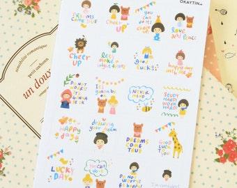 Okaytina Cartoon Stamp Stickers Set