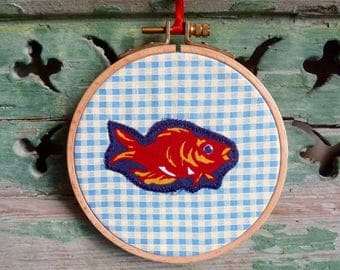 One Red Fish in a Gold Fish Bowl, Gingham Applique Wall Decor, Original Concept & Design © leslieworks Hoop Art