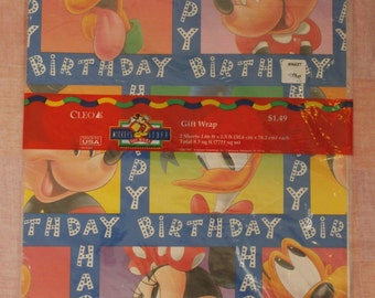 Happy Birthday Gift Wrap, Vintage Wrapping Paper by Cleo, Mickey's Stuff Disneyana, Made in the USA