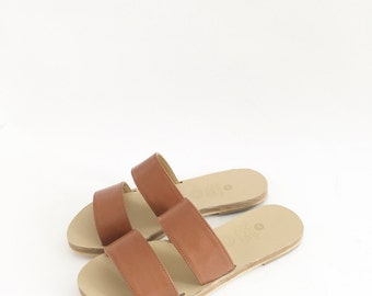 Double Strap Classic Faux Leather Flat Sandals