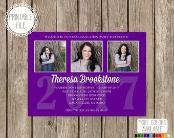 Class of 2017 High School College Graduation Announcement Photo Card Choose Your School Color