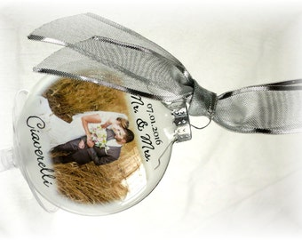 First Christmas Married Ornament MR & MRS Custom Holiday Glass Photo Ornament Bride Groom Parent Gift Printed on Thin Vellum/Etched Film
