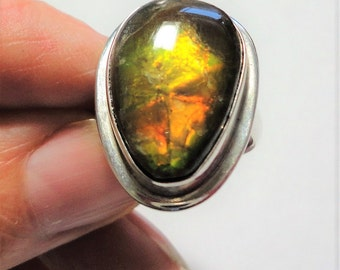 Ammolite Ring Orange Gold and Green Flash Genuine Fossilized Ammolite Ring in Solid Sterling Silver Size 5