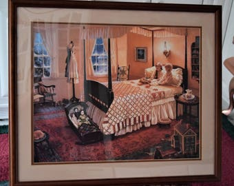 Vintage DONNA GREEN PRINT Framed Picture Dollhouse Doll House Cradle Bed Victorian Teddy Bear Once Upon a Time Signed Number Limited Edition