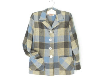 40s Wool Blouse * Vintage Plaid Shirt * Rustic Cabin Shirt * 49er Jacket * Small / Medium