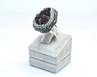 Druzy Chrysoprase Dark Purple Gemstone Swarovski Crystal  Rings Sterling Silver  Adjustable Sparkly Drusy , FedEx Shipping