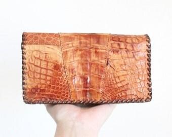 S A L E alligator leather clutch wallet