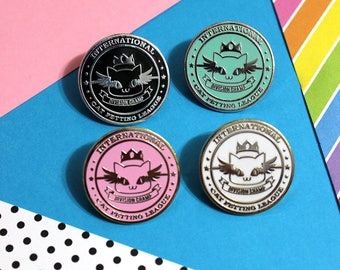 Cat Petting League Hard Enamel Pin - Four Colors Pink Black White Mint