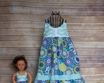 Dolly and Me royal floral summer sundress, size 1-12, girls knot dress, girls spring  sundress