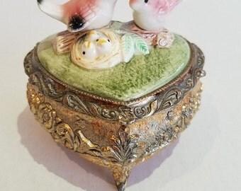 Vintage Japan Silver Heart Porcelain Love Birds Trinket Box