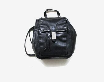 Vintage Leather Backpack / Black Leather Backpack / Drawstring Backpack / Mini Backpack