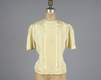 1930s rayon office blouse • vintage 30s top • buttercup deco shirt (HR)