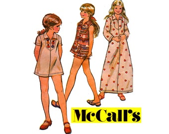 70s Girls Caftan Dress Tunic Top & Shorts McCall's 3224 Vintage Sewing Pattern Size 7