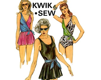 Kwik Sew 1428 Womens 80s Retro One Piece Swimsuit Pattern Wrap or Skirted Styles Sizes 8 - 14 UNCUT Factory Folds