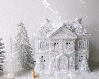 Shabby Chic White Glittered Christmas Cottage. Vintage Ceramic Christmas Village House. Pink GLittered Cottage Decor. Electric Lit House