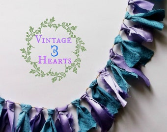 Blue & Lavender Fabric Garland. Fabric Tassel Garland. Easter Spring Pansy Colors. Photo Props. Birthdays. Weddings. Showers