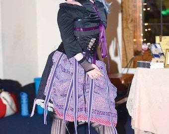 purple cream and red blockprint Sari bustle,one size,  steampunk, victorian, bellydance