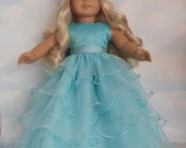 18 inch doll clothes - #236 Aqua Ruffled Gown - Handmade to fit the American Girl Doll - FREE SHIPPING