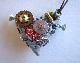 Robot Heart Necklace- Zombie- Frankenstein- Gear- AI- Cyborg- Valentines Day