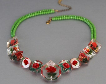 A Rose By Any Other Name. Statement Necklace From Vintage Lucite Jewelry