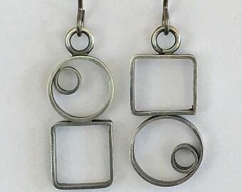 Sterling Silver Asymmetrical Geometrical Open Frame Earrings