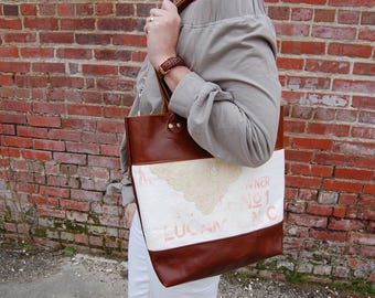 North Carolina Vintage Flour Sack and Lace Cognac Leather Tall Travel Tote