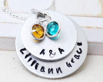 Mothers Day Gifts, Gifts for Mom, Birthstone Necklace, Name Necklace, Gift for Grandma, Necklace for Mom, Personalized Jewelry, Nana Gift