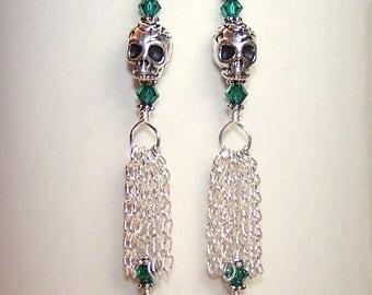 Skull Earrings Emerald Green Crystal Teardrop Silver Chain Tassel Jewelry Silver Skull Earings Long Dangle Pierced Earrings for Women