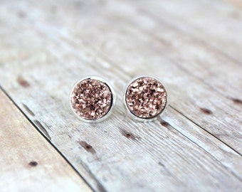 R O S E Y - Rose Gold Chunky Sparkle, Faux Druzy, Silver Plated Stud Earrings, 10mm or 12mm