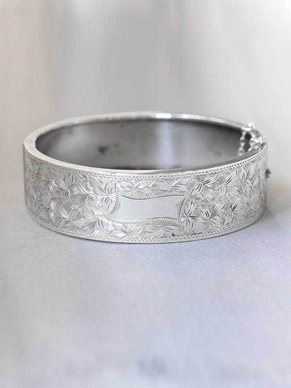 Antique Sterling Silver Bangle, Ivy Leaf Engraved Cuff Bangle Bracelet with Safety Clasp - Wedded Love
