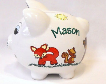 Child's Personalized Piggy Bank with Forest Animals, Fox, Squirrel, Bear, Owl, Hedgehog, Rabbit, Skunk