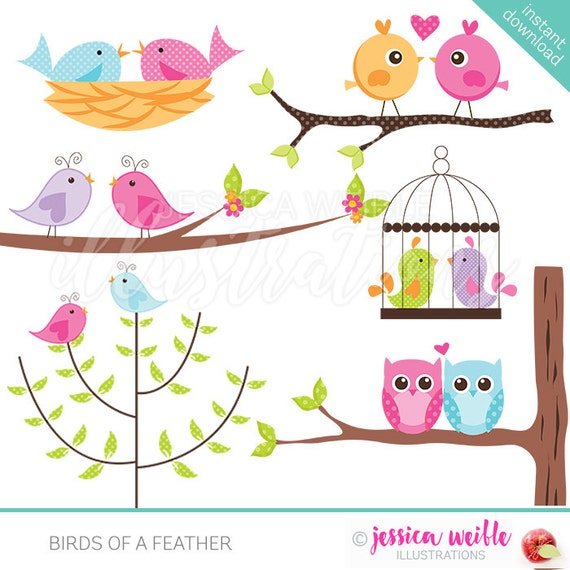 Birds of a Feather Cute Digital Clipart for Card Design, Scrapbooking, and Web Design