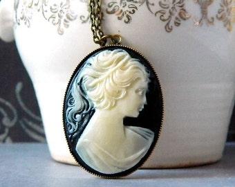 Black Victorian Necklace Black Cameo Necklace Lady Cameo Woman Cameo Necklace Ivory Girl Cameo Pendant Antique Brass Black Necklace