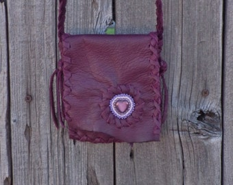 Burgundy leather bag , beaded heart mandala , small leather bag, crossbody leather bag , small phone bag , soft leather pouch , girls bag