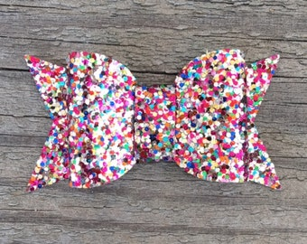 Rainbow Glitter Hair Bow, Glitter Hair Bows, Sparkly Hair Clips, Toddler Hair Clip, Sparkly Hair Bows, Colorful Hair Clip, Rainbow Hair Clip