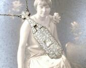 Antique Art Deco Pave Rhinestone Necklace, 1920s Gatsby Bridal Jewelry Paste Crystal Silver Pendant Necklace, 1910 Edwardian Vintage Wedding