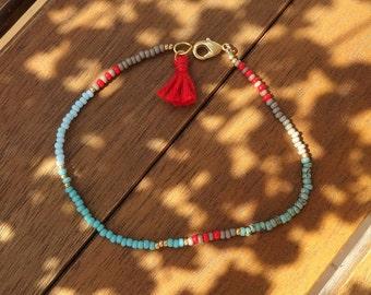 Simple Seed Beaded Bracelet with Tassel  - Friendship Bracelet