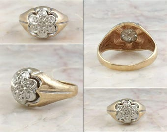 Antique Gold Diamond Ring 10k Yellow Gold Ring White Gold Antique Diamond Two Tone Gold Yellow Band White Gold Crown or Flower Shaped Top