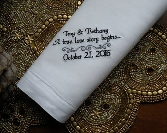 Wedding Gift Dinner Napkin Wedding Favor Embroidered Wedding Handkerchiefs Gifts for Dad from Daughter by Canyon Embroidery