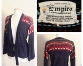 Empire Sweater // Navy Blue and Red Cardigan // 60s Sweater