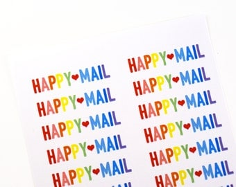 80 BOLD Rainbow HAPPY MAIL stickers with red heart - packaging, penpal letters, stationery