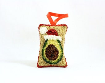 Avocado in a Santa Hat. Christmas Ornament. Punchneedle. Food Art. Dark Green, Light Green, Red Ribbon. Harp and Thistle