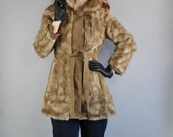 FREE SHIPPING Vintage 70s Women's Lilli Ann Faux Fur and Suede Golden Brown Winter Glam Boho Bohemian Formal Dress Coat, Size Small