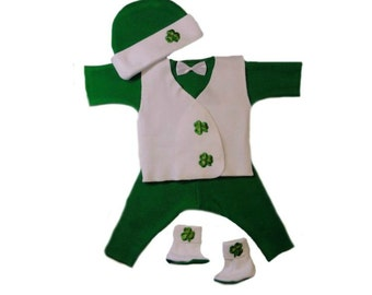 St. Patrick's Day Irish Shamrock Baby Boy 4 Piece Suit with Vest. 4 Micro Preemie, Preemie and Newborn Sizes. Pants, Shirt, Booties and Vest