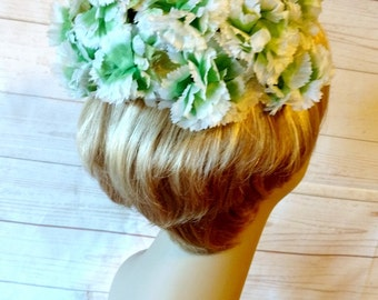 Green and White Flower Hat - St. Patrick's Day Hat - Irish Green Hat - Green Carnation Hat - Spring Flower Hat - Easter Hat - Floral Hat