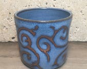 Blue Cup - Handmade Vibrant Blue Stoneware Cup with Vine Design - Ceramic Cup - Beverage Tumbler - Handleless Mug - Coffee Cup - Tea Cup