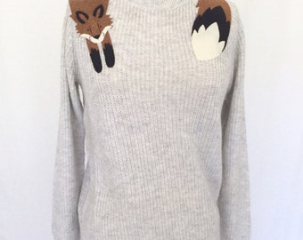 Fox Sweater in Light Gray by Dandyrions/ Women's Clothing/Fashion