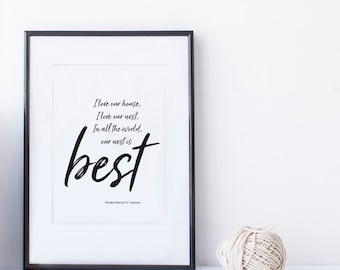 Our Nest is Best. Typography Black and White Wall Art. Valentine, House warming, wedding, and anniversary